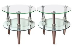 These Mid-Century Modern round mirrored and glass end tables have the look of jewels with original crystal balls. They will add glamour to your living space.