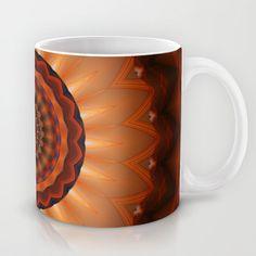 Mandala orange brown Mug by Christine baessler - $15.00