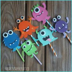Little Monsters Cupcake Toppers by on Etsy Monster Party, Monster Inc Birthday, Monster Cupcakes, Halloween Birthday, Halloween Party Decor, Halloween Diy, Halloween Crafts For Toddlers, Crafts For Kids, Diy Crafts