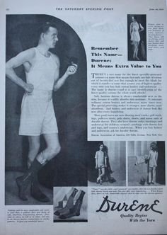 1930 ad Mens Underwear DURENE Cotton Briefs Photo man Smoking Pipe