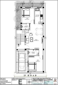 Floor Plan - Right Angle Properties - Pranav Orchid at Chengalpet, Chennai 2bhk House Plan, Narrow House Plans, Small House Floor Plans, Model House Plan, Simple House Plans, House Layout Plans, Duplex House Plans, House Layouts, 20x30 House Plans