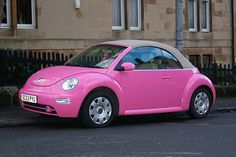 AWESOME Pink Convertible Bug!!!  Pretty sure this will be Lynsey's first car!!!  She loves it!!! :)))