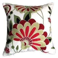 Floral Embroidered Style Throw Pillows