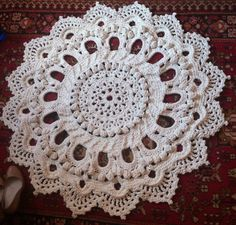 Crochet carpet. 44 in.-Baby rug-Round floor lace-living room mat. Wedding gift, birthday gift, area rug