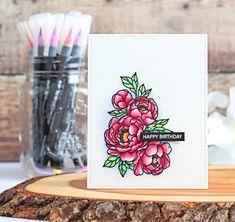 Stamps: Pick A Peony, Tiny Type Light Pink Color, Flower Center, Index Cards, Shades Of Yellow, Hero Arts, Brush Pen, Flower Petals, Watercolor Paper, Pencil Drawings