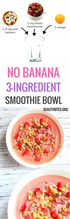 Easy vegan strawberry smoothie bowl, no banana! Love this as a healthy breakfast or a healthy treat! This healthy strawberry smoothie is paleo, gluten-free and grain-free!