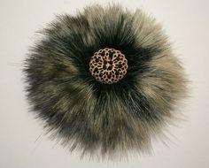 fur broochs | Grey faux fur brooch hair slide hair clip barr... - Folksy