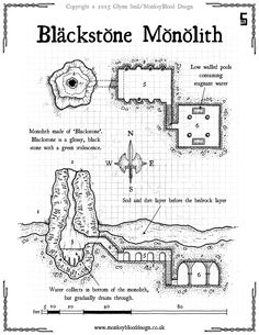 Blackstone Monolith PRINT r1 map cartography | Create your own roleplaying game material w/ RPG Bard: www.rpgbard.com | Writing inspiration for Dungeons and Dragons DND D&D Pathfinder PFRPG Warhammer 40k Star Wars Shadowrun Call of Cthulhu Lord of the Rings LoTR + d20 fantasy science fiction scifi horror design | Not Trusty Sword art: click artwork for source