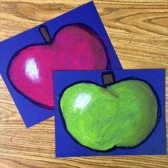How to Draw An Apple, and Shade it Like a Pro. Oil pastel outline and chalk pastel filling. #appleart #chalkpastel