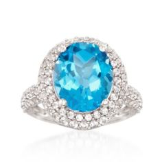 Ross-Simons - 5.50 Carat Blue Topaz and 1.10 ct. t.w. White Synthetic Sapphire Ring in Sterling Silver - #839341