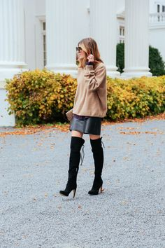 Over the knee boots, cashmere sweater, leather skirt