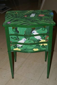 Hand painted Signed Art Night or Side Table Dresser with by Art333