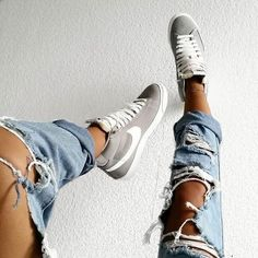 ripped jeans and high tops