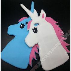 Carcasa 3D divertida diseño unicornio azul y blanco para Huawei P9 Lite