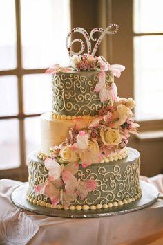 Gray & Pink Wedding Cake