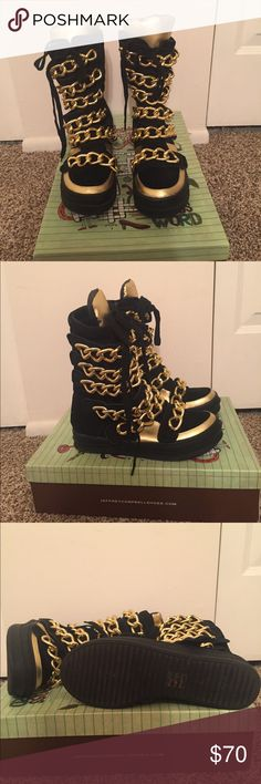 Jeffery Campbell Black Suede w/ Gold Chains Jeffrey Campbell Shoes Lace Up Boots