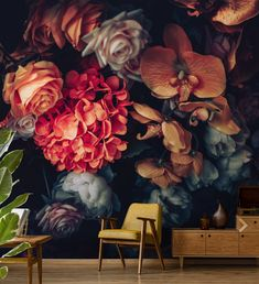 Beautiful flowers peel and stick wallpaper, vintage floral wallpaper mural, dark floral wall decor, self adhesive removable wall decal - bedroom - Technologie Wallpaper Wall, Temporary Wallpaper, Flower Wallpaper, Peel And Stick Wallpaper, Adhesive Wallpaper, Vintage Floral Wallpapers, Floral Vintage, Mural Floral, Dark Flowers