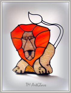 Lion Stained glass candle holder. A unique gift. от TMArtGlass