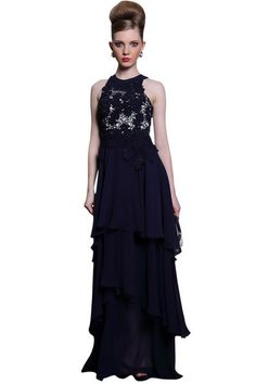 Midnight Blue Chiffon Prom Dress (30991)  £345.00 Dazzling midnight blue chiffon prom dress by Elliot Claire. A lovely blue prom dress featuring embellished bodice and natural waistline. This full length ruffled skirt flows magnificently while you sway gracefully on the dance floor.