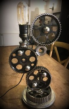SILENCE O THE SET #steampunk #design #industrial lights #industrial Steampunk Crafts, Steampunk Design, Steampunk Lamp, Recycled Metal Art, Scrap Metal Art, Metal Art Projects, Welding Projects, Automotive Furniture, Metal Furniture