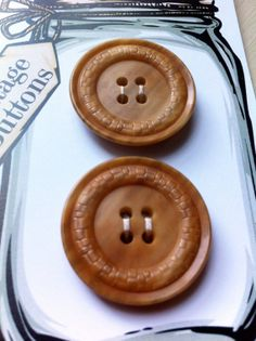 2 x Large Vintage CARAMEL Vegetable by bonkersaboutbuttons on Etsy, £4.00