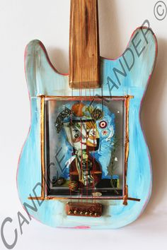 3D Collage for Harry Guitar Frame. This is handmade, hand painted and embellished guitar. $400.00 #candicealexander #louisiana #nola  #guitar #3dart #festival