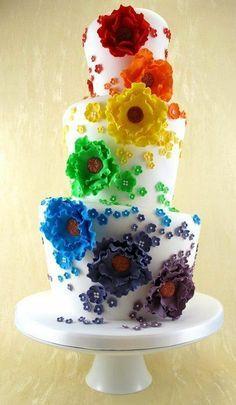 Rainbow Wedding Cake.  http://memorablewedding.blogspot.com/2013/12/rainbow-themed-wedding.html