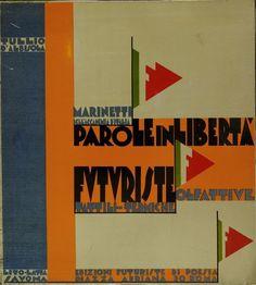 Cover book by Filippo Tommaso Marinetti, 1932, 'Parole In Libertà Futuriste' Olfattive Tattili Termiche, Rome.