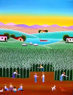 ROBSON BARROS TEMA COLHEDORES A VENDA COM AJUR SP Arte Naif Folk, Art Beat, Drawing Sketches, Drawings, Funky Art, Am Meer, Naive Art, Art Images, Painting & Drawing