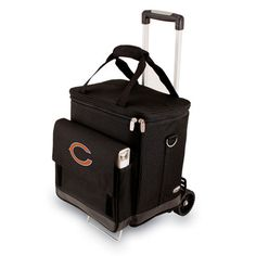 Picnic Time NFL Digital Print Cellar with Trolley in Black NFL Team: Chicago Bears Cincinnati Bengals, Indianapolis Colts, Denver Broncos, Seattle Seahawks, Pittsburgh Steelers, Broncos Gear, Hand Cart, Cow Boys, Wine Carrier