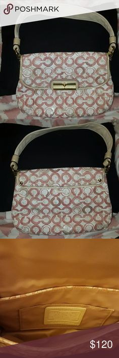 New Coach Poppy Handbag * Pink With Sequins New * Pink & White with Sequins  Beautiful bag for a night out Gold Hardware* Comes with dust bag Really beautiful bag Coach Bags