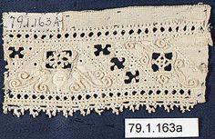 "Italian linen cutwork fragment 16C 3 x 1.5"" @ met museum 79.1.163a additional images on museum website"