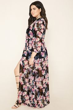 Forever 21+ - A semi-sheer maxi dress featuring an allover floral print, a buttoned front, a V-neckline, an elasticized waist, and 3/4 sleeves with buttoned cuffs.