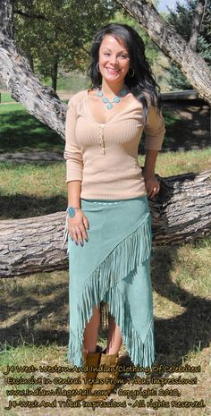 West Collection Top Quality Handmade Cowhide Fringed Wrap-Around Skirts Zippered Closure On One Side. Four Colors Beige, Black, Light Cognac, Turquoise And Red - Size: SM - Western Outfits Women, Western Wear For Women, Cowgirl Outfits, Western Dresses, Women Wear, Country Outfits, Cowgirl Clothing, Cowgirl Fashion, Cowgirl Jewelry