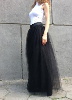 Black Long Tulle Skirt Women Tutu Skirt by MDSewingAtelier on Etsy