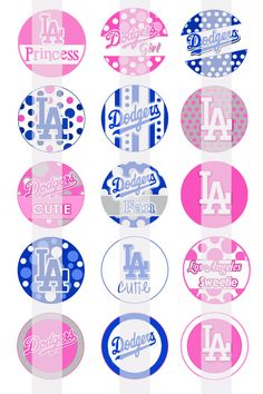 Los Angeles DODGERS Inspired Polka Dots Bottle Cap Images by Bee83, $1.95