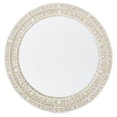 Check out this item at One Kings Lane! Ava Bone Inlay Wall Mirror, Buff