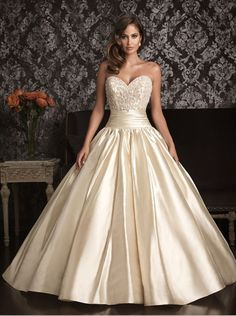 MZ0074 Chamapagne Satin Ball Gown Corset Bodice Beading Wedding Dresses Ball Gown 2014 Free Shipping $179.89