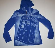 Ladies Blue Doctor Who Tardis Hoodie - Size Small - Ready to ship
