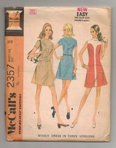 Vintage 1979 McCall's Sewing Pattern Misses Dress Size 18 3 styles  | jjandedt - Clothing on ArtFire