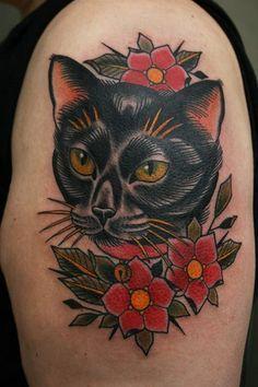 ... on Pinterest | Black Cat Tattoos Dagger Tattoo and Tattoo Old School