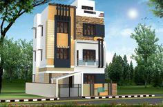 3 Storey House Design, Duplex House Design, House Front Design, Modern House Design, Building Elevation, House Elevation, Innovative Architecture, Modern Architecture, Building Design