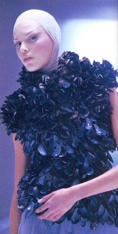 Wearing mussel-shells for Alexander McQueen VOSS  Spring/Summer 2001