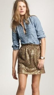 Mixing textures & styles the right way. Denim and sparkle.