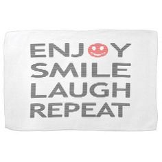 Enjoy smile laugh repeat - black and red. towel - kitchen gifts diy ideas decor special unique individual customized