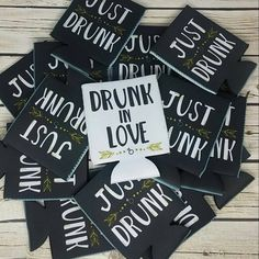 just drunk can coolers / drunk in love bachelorette party can coolers / bride tribe font / bachelorette party favors / fun wedding favors by icecreamnlove on Etsy https://www.etsy.com/listing/271462471/just-drunk-can-coolers-drunk-in-love