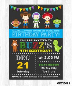 Toy Story Invitation, Toy Story Birthday Invitation, Toy Story Invite, Toy Story Party by KidzParty on Etsy https://www.etsy.com/listing/228382048/toy-story-invitation-toy-story-birthday