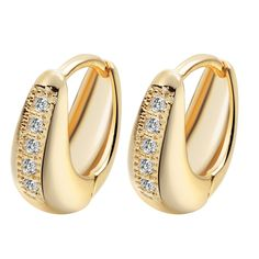 Fashion Design 24K Gold Filled AAA Cubic Zircon Hoop Earrings 2016 Fashion Gold Earrings for Women Goldfilled Jewelry A1168