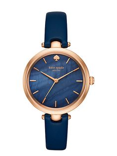 it's always a good time to add a little shine, and the rose gold-tone kate spade new york holland watch gleams with a blue mother-of-pearl dial and sleek navy leather strap.