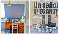 O office também é colorido! Na mesa antiga, Florian acomoda artigos como um globo, recordações e fotos emolduradas. Há ainda um pequeno zoológico formado por um adorno de poodle e até uma tarântula dentro de um vidro. Ao lado, vemos um pug e uma libélula sobre volumes de livros queridos.